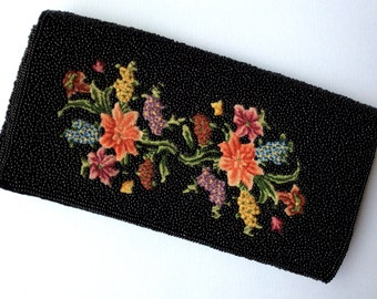 Vintage Black Beaded Clutch with Embroidered Floral Detail