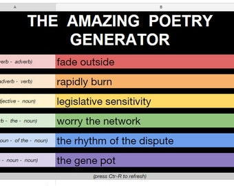 The Amazing Poetry Generator (Excel or Google Sheets file) - A tool for inspiring unique phrases