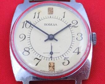 Vintage Russian mens mechanical wrist watch POBEDA 15 jewels v727