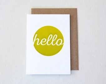 Mini Hello Letterpressed Card