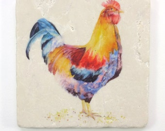 Mr. Rooster Tumbled Stone Trivet Original Watercolor