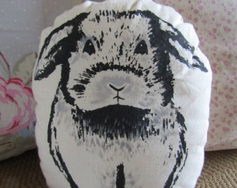 screenprint Cute bunny rabbit print cushion realistic great for rabbit& animal lovers handmade great gift idea.