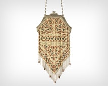 "1920's Purse // 1920's Enameled Steel Mesh Arts & Crafts Evening Bag stamped ""Mandalian Mfg Co"""