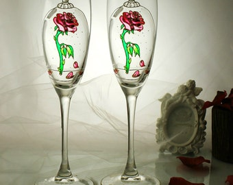Beauty and the Beast Enchanted Rose-Personalized Wedding Champagne Glasses-Magic of the Roses-Gold Hand painted Toasting flutes-WeddingGift