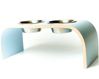 Powder Blue Raised Dog Bowl Stand available in various sizes.
