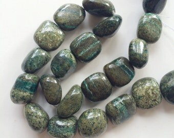 full strand of green agate nugget beads