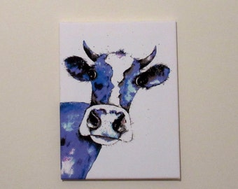 Huffy Cow!!!  Canvas print from an original painting by Suzanne Patterson. 16 x 12 inches. Ready to hang.