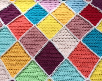Crochet Diamond Baby Carseat Stroller Blanket Throw Afghan