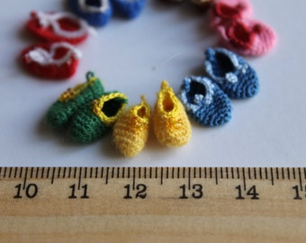 Crochet slippers for tiny doll (pukipuki, realpuki FL, micro bjd)