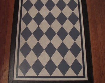 Painted Canvas Colonial Floorcloth with Diamond Design