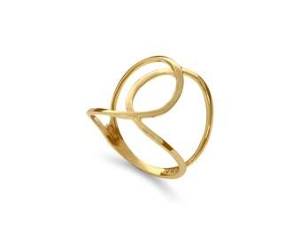 14k solid gold swirl ring. index finger ring, middle finger ring, knuckle ring. fancy ring
