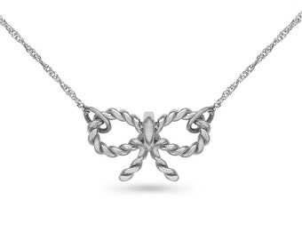 "14k solid white gold bow necklace. fancy necklace on an 18"" solid white gold chain."