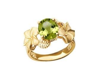 14K Yellow Gold Peridot Plumeria Ring, Peridot Ring, Plumeria Ring, Peridot Jewelry, Plumeria Jewelry, Floral Jewelry, Floral, Peridot