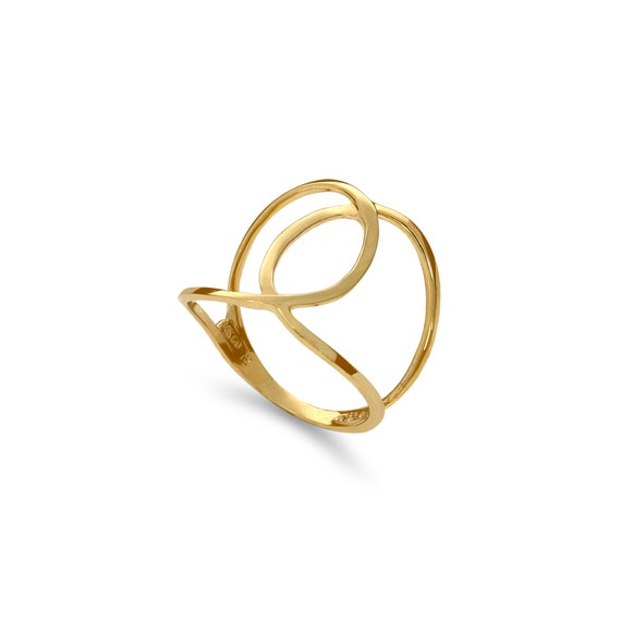 14k solid gold swirl ring index finger ring middle finger