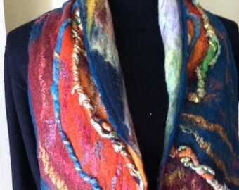 Felted scarf, wool scarf, nuno felted scarf, teal scarf, hand made scarf