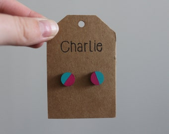 Magenta and teal hand painted wooden earrings