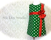 Girls Christmas Dress, Toddlers Christmas Dress, Green with White Polka Dots, Red Bow Sizes 2T - 8 by 8th Day Studio