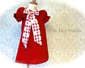 Girls Valentines Dress, Toddlers Valentines Dress, Red Peasant Dress with Heart Print Bow, Sizes 2T - 6 by 8th Day Studio
