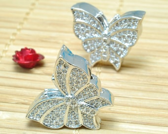 4 pcs of Copper Spacer,Rhinestone crystal jewelry, Antique Silver plated beads,butterfly pattern Connector beads