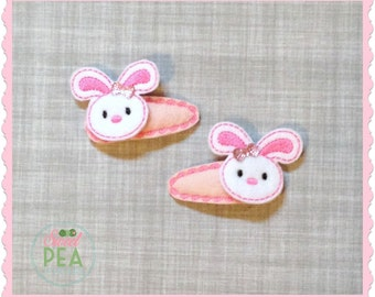 Bunny Hair Clips - Easter Hair Clips - Easter Bunny - Easter Hair Accessories - bunny snap Clips