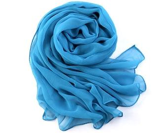 Crystal Blue Chiffon Scarf - Dodger Blue Chiffon Scarf -30D61