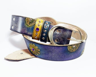 Belt, Leather belt, woman belt, jeans belt.COSMIC BELT.