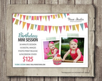Birthday Mini Session - Birthday One Year Child Photography Marketing - Photo Session Mini Session - Marketing Board - INSTANT DOWNLOAD PSD