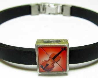 Fiddle Music Link With Choice Of Colored Band Charm Bracelet