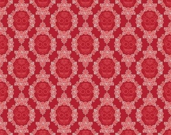 Extra 30% off 1/2 yard La Vie Boheme by The Quilted Fish for Riley Blake Designs Skulls Red