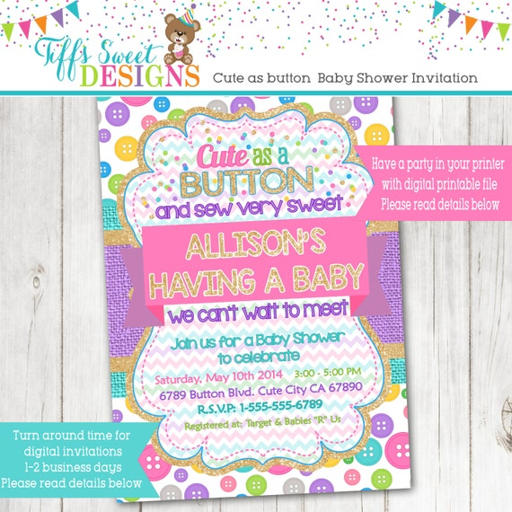 cute as a button baby shower invitation baby shower birthday