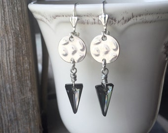 Modern Style Wire Wrapped Silver Shade Swarovski Crystal Triangle Earrings With Lever Backs