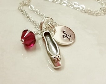 Sterling Silver Ballet Slipper Charm Necklace, Personalize it with a Swarovski Birthstone Crystal or Pearl and Sterling Initial Disk