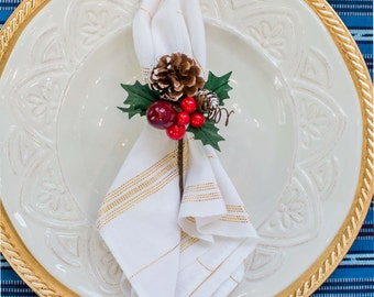 Christmas, New Year's or Wedding Cloth Napkins, Set 4, Snow White with Gold Metallic Stripes, Handwoven, Fair Trade, Holiday Party