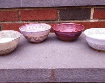 Carved Pottery Bowl, Soup Bowl, Rice Bowl, Noodle Bowl, Cereal Bowl, Set or Individual, cream, plum, white