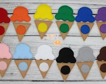 Ice cream cone color matching game embroidered, educational, montessori, memory, learning, color game, primary colors, color mixing