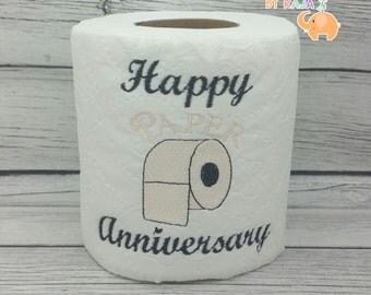 Happy Paper Anniversary embroidered toilet paper, first 1st anniversary, funny gag gift, white elephant, bathroom decorations, joke gift
