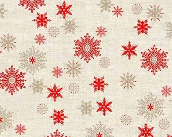 Snowflakes in Neutral- Scandi 3 by Makower for Andover