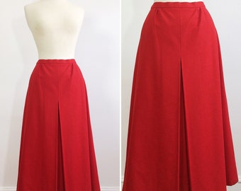 Vintage Red Wool Skirt Large / Wool Skirt Large 42 / 1960s 60s Skirt / Austrian Skirt / Midi Skirt Large