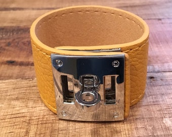 Rustic Yellow Leather Buckle Cuff - Silver Hardware