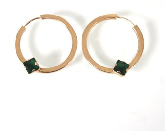 Gold Hoops 19k Portuguese large hoops Emerald