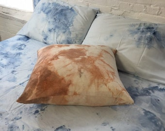 hand dyed indigo shibori silk pillow