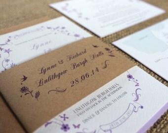 Printed Wedding Stationary | Vintage | Invitation Set |