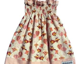 Size 3-4 years Shirred Dress, Shirred Summer Dress, Smocked Dress, Sundress, Girls Dress, Toddler Dress (Lanterns & Stitchery) READY TO SHIP