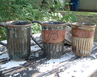Assorted tall handmade stoneware mugs (3 available)