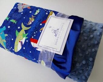 Sharkies Deep Ocean Blue with Denim Minky Dot Blanket, Satin Trim, Baby Boy, Baby Shower, Nursery, Crib Bedding