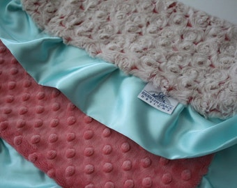 Rose Swirl in Beige and Coral with Coral Minky Dot and Saltwater Blue Satin Trim  Lovie Blanket, Baby Shower, Nursery, Bedding, Crib