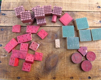 Vintage Wooden Pieces - Wooden Blocks - American Bricks - Checkers - Game Pieces for Collage or Art Projects