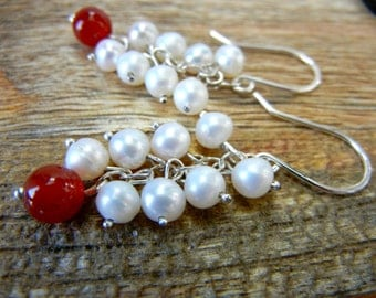Fresh Water pearls and Carnelian Cluster Dangle Earrings -  Sterling Silver - Bridal Earrings