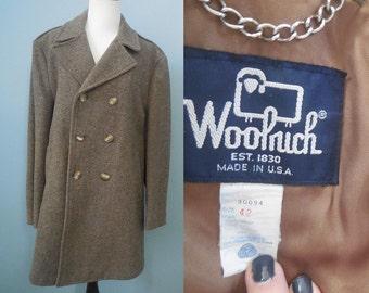 Vintage men's WOOLRICH wool COAT herringbone wool coat double breasted over coat overcoat mens size 42 medium