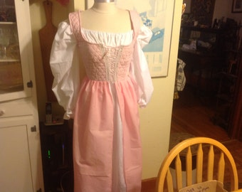 handmade renaissance fair wench maiden medieval costume pink over dress and chemise theater quality